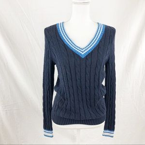St. John's Bay Blue SM Long Sleeve V-Neck Sweater